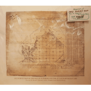 1852 Survey Map of Superior | Reprint | Douglas County Historical Society